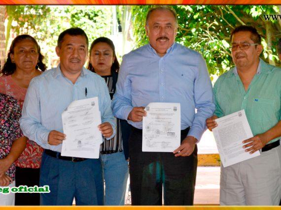 Firma de la Minuta de Acuerdos con el Presidente Municipal de Tixtla