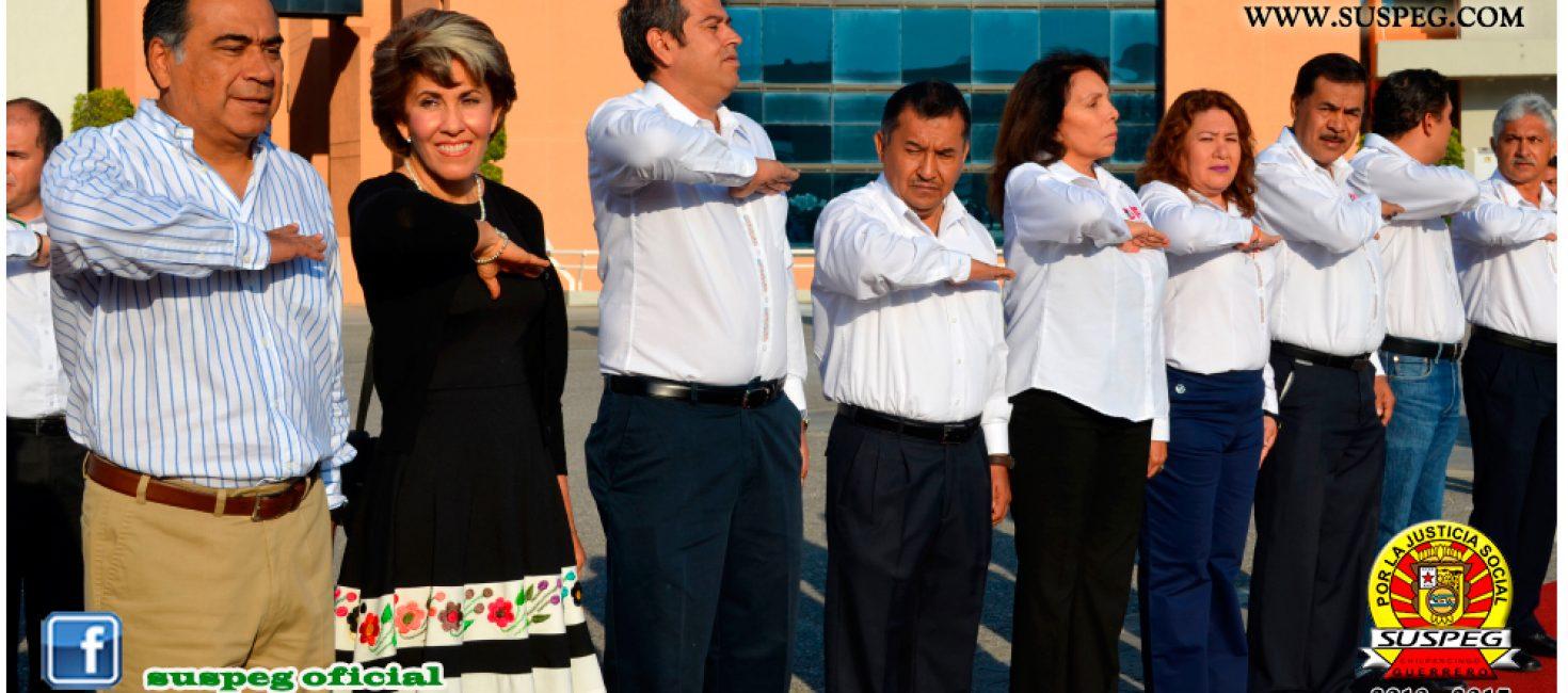 Ceremonia de Honores e Izamiento a la Bandera Nacional en Palacio de Gobierno