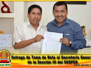Entrega de Toma de Nota al Secretario General de la Sección III del SUSPEG