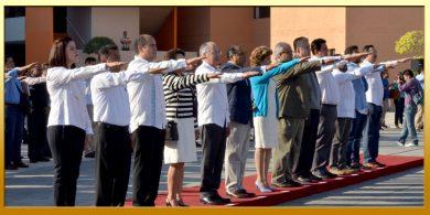Ceremonia de Honores e Izamiento de la Bandera Nacional en la Explanada de Palacio de Gobierno