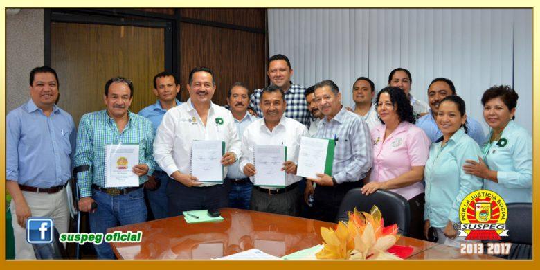Firma del Contrato Colectivo de Trabajo entre la Universidad Tecnológica de la Costa Grande y el SUSPEG