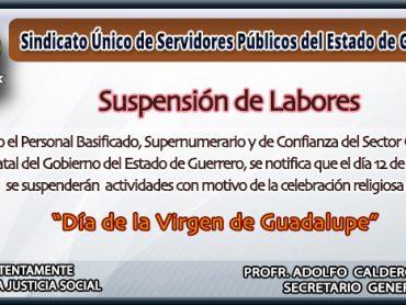 Suspesión de Labores 12 de Diciembre 2017