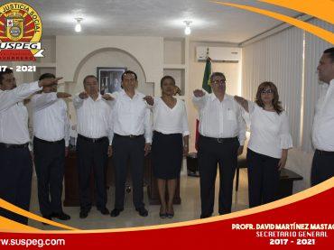 Toma de protesta a los compañeros que atenderán las diferentes secretarias en el Comité Central Ejecutivo del SUSPEG 2017-2021.