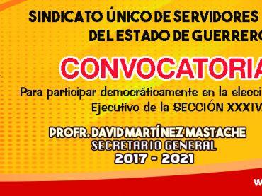Convocatoria para participar en la elección democrática de la sección  XXXIV
