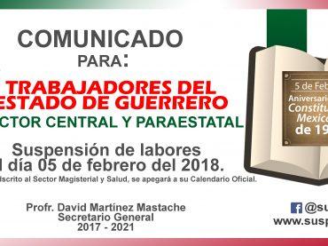 Comunicado para trabajadores del sector central y paraestatal.