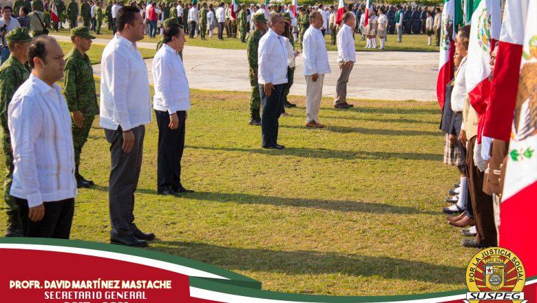Ceremonia cívica en honor al Día de la Bandera.